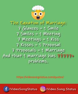 The equation of marriage  - funny quotes on life