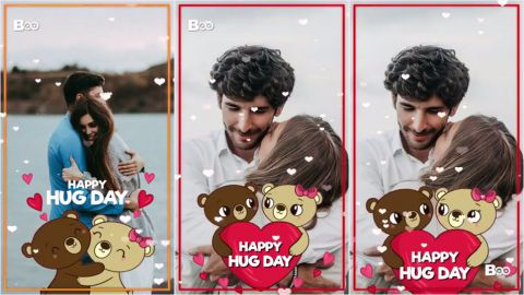 Beating Heart Hug Day Special Full Screen Status Video