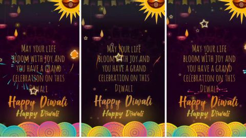 Beautiful Happy Diwali Fullscreen Status Video In English